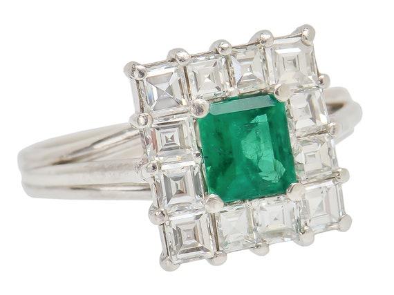 Vintage Emerald Diamond Ring Square Cut Halo Ring
