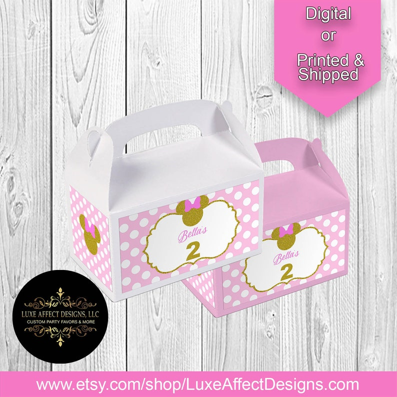 Minnie Mouse 1st Birthday Party Gable Box Gift Bag Label Sticker Gloss Vinyl