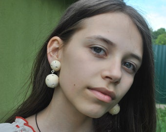 Earrings wooden balls,Two Drop White Bonbon wooden earrings, Earrings wooden with crystals,Bon Bon couples Wooden earrings Natural Wood