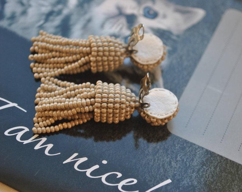 Long beige beaded tassel clip,Oscar de la Renta Long earrings Short tassel,long beaded tassel,SILVER stud 925,beaded tassel earrings