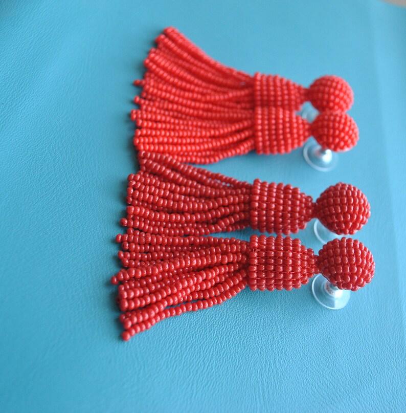 Long red,red garnet beaded tassel  earrings,Oscar de la Renta style earrings,beaded tassel trending earrings,SILVER stud short beaded tassel