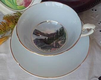 Canada 150, Blue Teacup and Saucer, Royal Grafton Bone China, Slocan Lake, New Denver, British Columbia, Eggshell blue