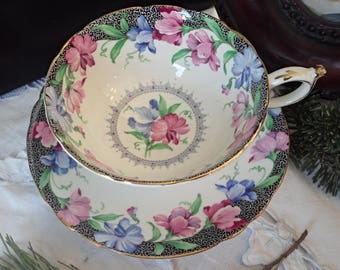 Paragon Sweet Pea Teacup and Saucer, Vintage Pink Rose, Blue Floral, Black Lace, Gold Trim, Wide Mouth, Double Warrant, Cabinet Teacup