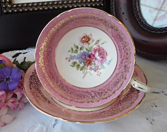 Pink and Gold Paragon Teacup and Saucer - Pink Cabbage Rose, Blue Daisies, Spring Bouquet, Gold Scroll Motif