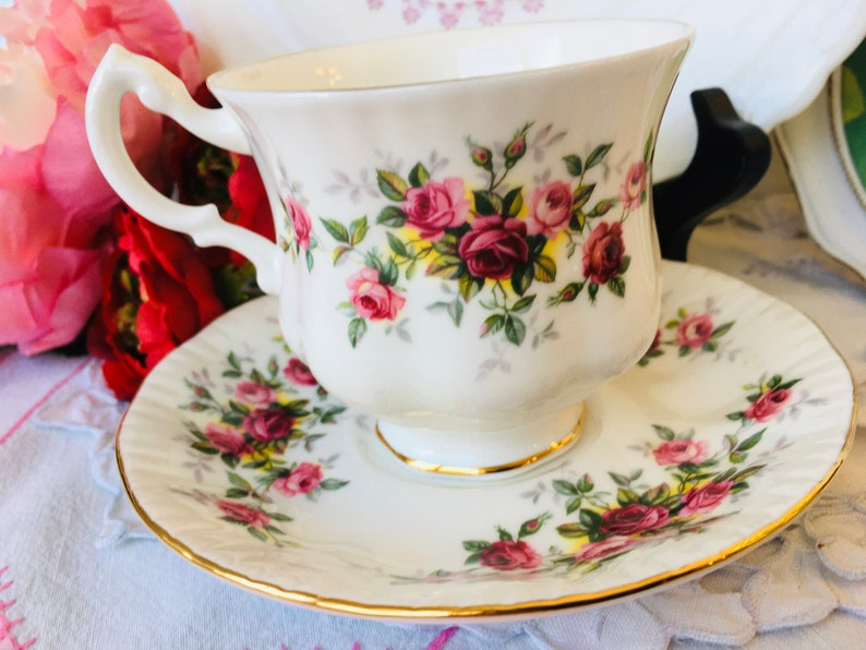 New Year Gift Wellness Tea Gold Foot and Trim Birthday Gift Queen Anne Roses Floral Teacup and Saucer
