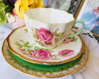 Antique Paragon Rose Teacup, Orleans Rose Saucer and Grosvenor Green and Gold Plate, Vintage English Tea Set, Mix and Match China