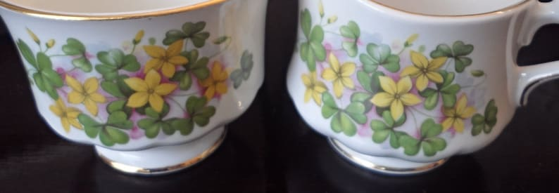 Vintage Tea Time or Shabby Chic Decor Birthday  Gift Queen Anne Clover and Daisy Creamer and Sugar Bowl