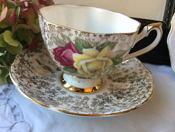 Vintage Wide Mouth Gold Chintz Floral Teacup and Saucer Pink and Yellow Cabbage Roses, Crown Mark Bone China England, Christmas Gift for Mom