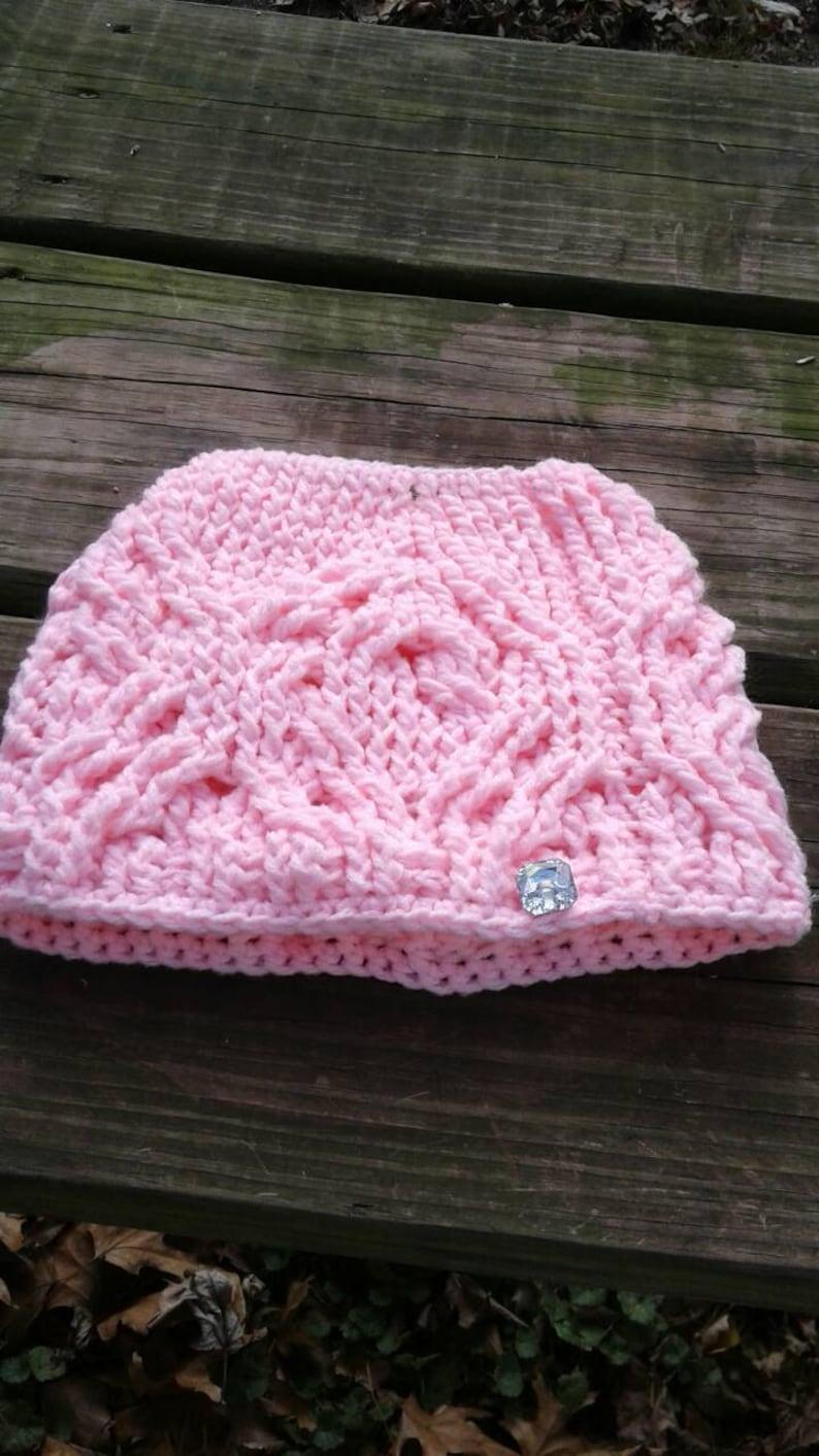 Messy bun crocheted hat Messy bun ponytail hats Ladies Crochet Hats .Messy bun hat Hugs and Diamonds Pink Messy Bun Hat .Crochet Hats