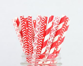 Paper Straws - Red Dots Chevron Damask Striped, Valentines Day, Baby Shower Decor, Cake Pops, Red Party Supplies, Wedding Decorations