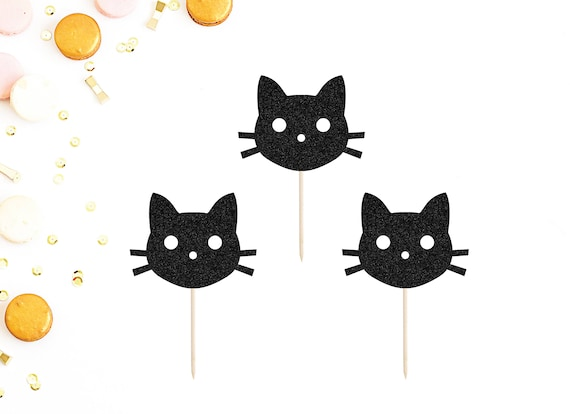Cat Cupcake Toppers Set Of 12 Kitty Birthday Party