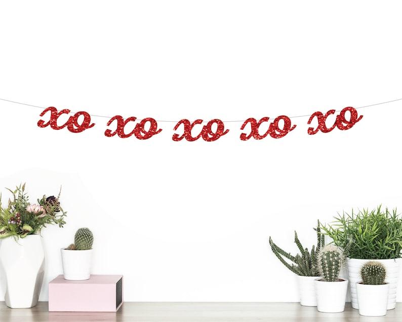 Xo Xo Xo Cursive Banner Valentines Day Banner Be Mine Etsy
