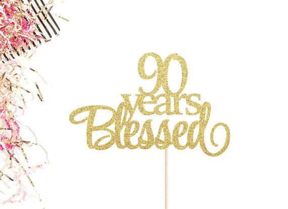 90 Jaar Gezegend Taart Topper 90ste Verjaardag Taart Topper Etsy