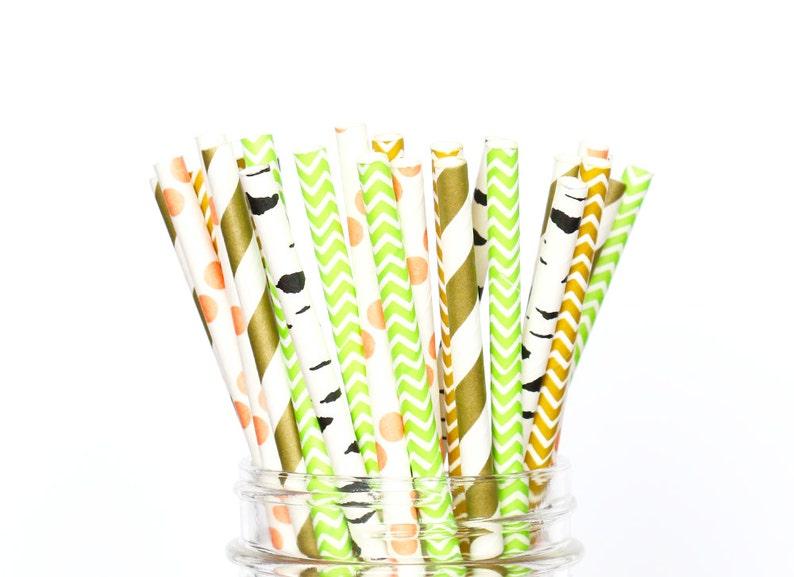 Birthday Party Straws Gold Lime Green Brown Straws Fox Themed Party Baby Shower Straws Paper Straws Woodland Theme Birch Straws