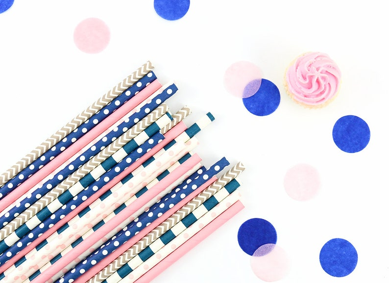 Navy /& Pink Straws Bachelorette Party Gender Reveal Paper Straws Navy Decor Confetti Theme Baby Shower Bridal Shower Wedding
