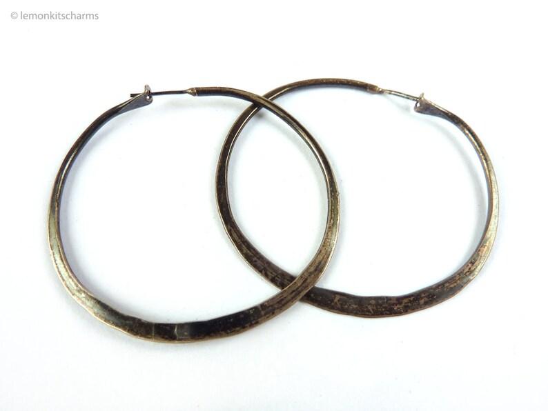 Vintage Sterling Silver Hoop Earrings 1960s 1970s Jewelry image 0