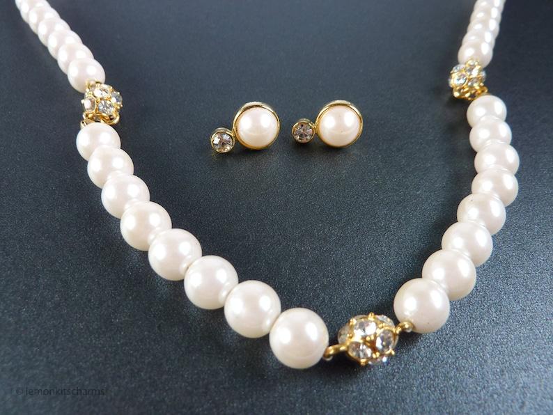 Vintage Avon Faux Pearl Rhinestone Necklace Earrings image 0