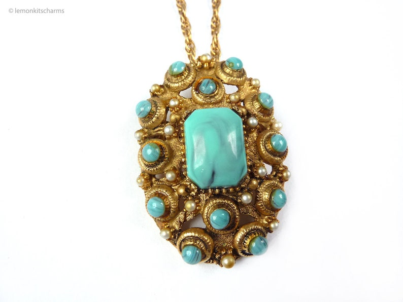 Vintage BSK Faux Turquoise Necklace Brooch Pendant 1960s image 0