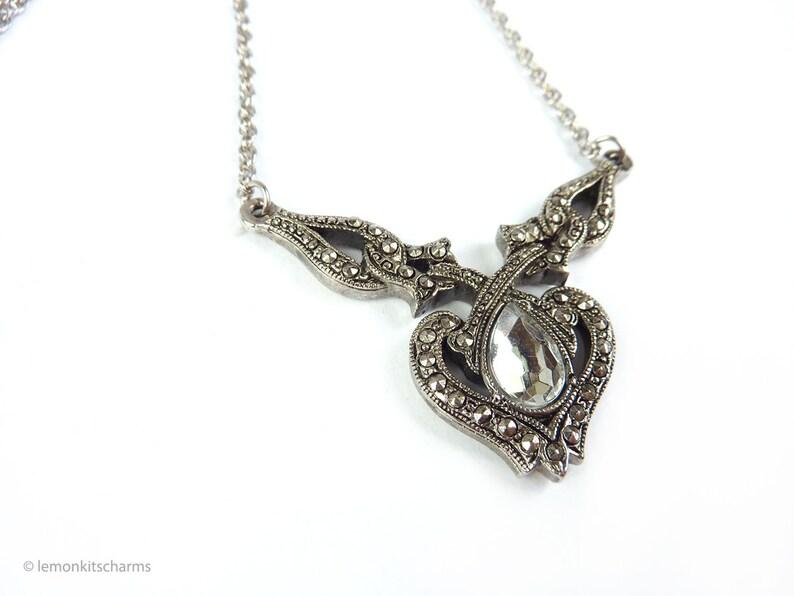 Vintage Avon Faux Marcasite Necklace Romantic Essence 1994 image 0