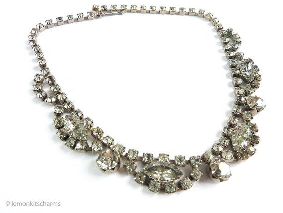 Vintage 1950s Clear Rhinestone Choker Necklace, Mi