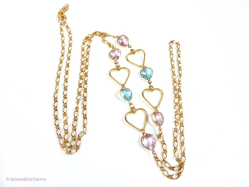 Vintage Avon Heart Chain Long Necklace 1990s Jewelry image 0