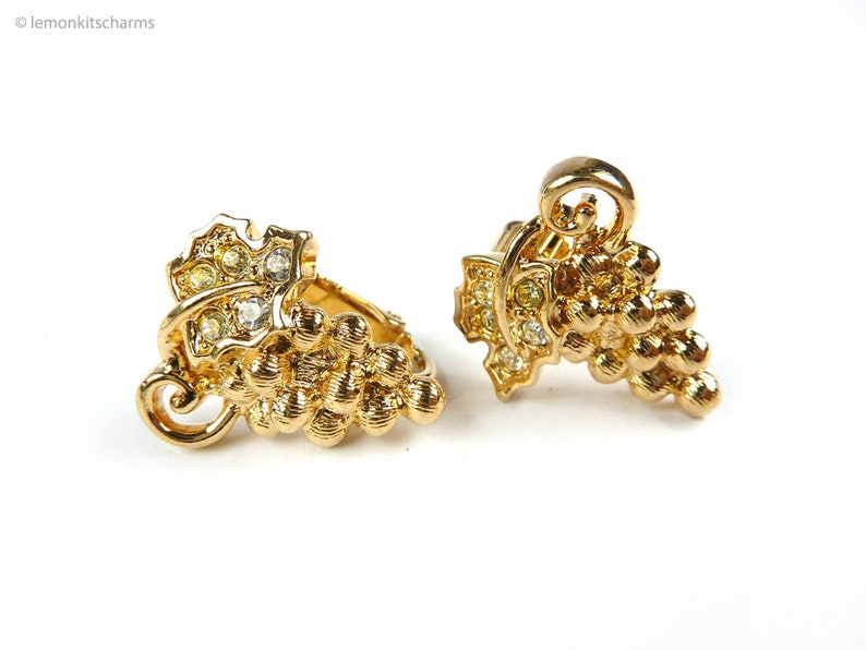 Vintage Avon Grapes Earrings Fall Impressions Clip On Style image 0