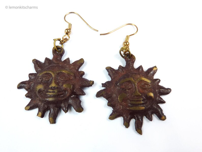 Vintage Sun Face Earrings Brass Brown Hook Pierced 1970s image 0