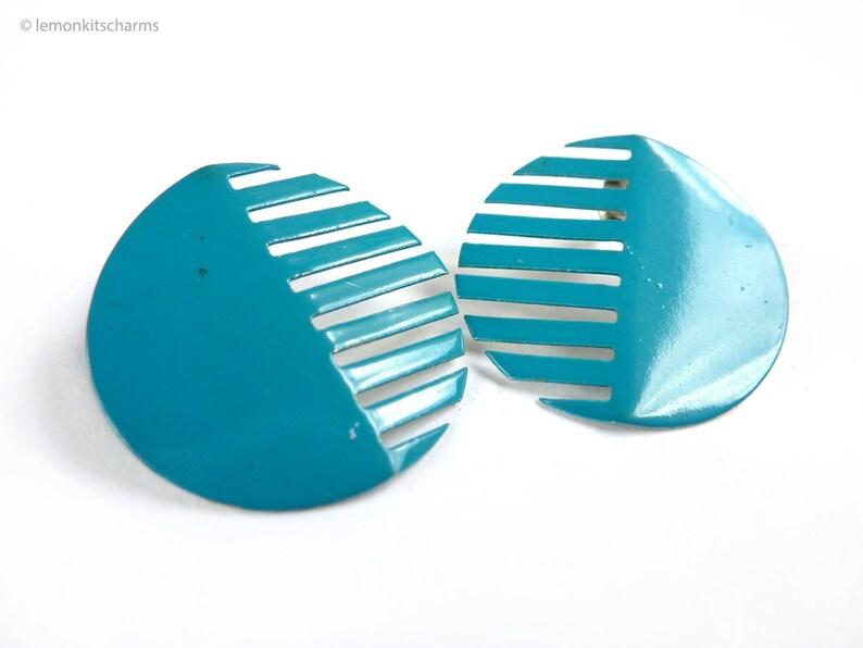 Vintage Blue Geometric Grille Earrings 1980s Jewelry 80s image 0
