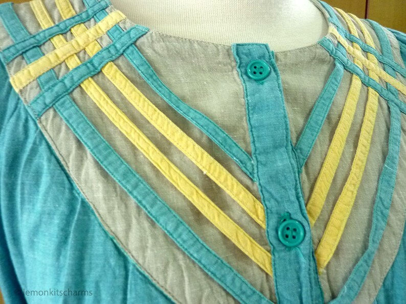 Loose Fit Tie Belt Boho Bohemian Style 1980s 80s Clothing Vintage Green Yellow India Cotton Dress Size S  M  4  6  8 10