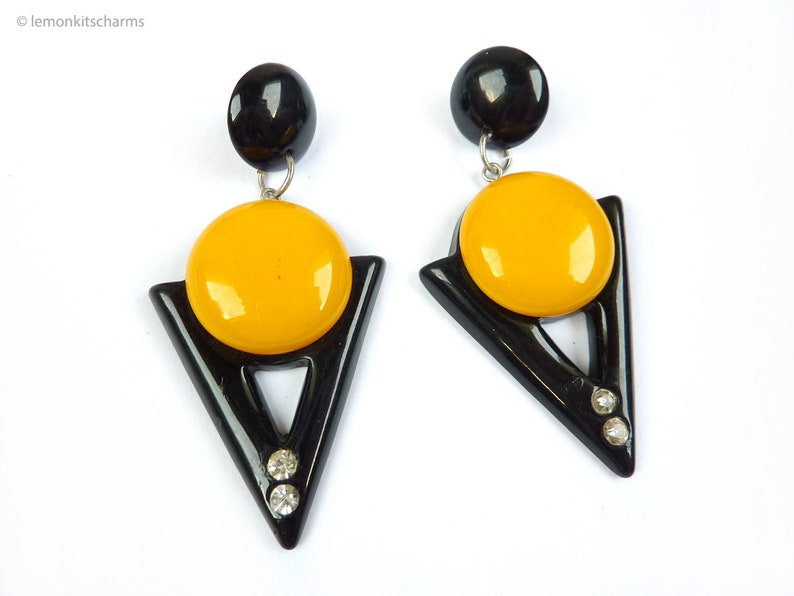 Vintage 1980s Yellow Black Triangle Earrings 80s Jewelry image 0