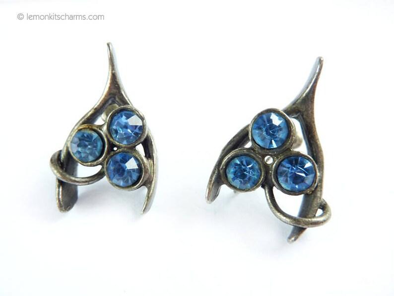 Vintage Wishbone Blue Rhinestone Silver Earrings Jewelry image 0