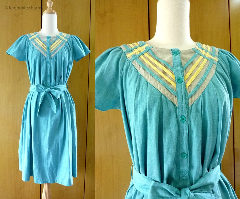 Vintage Green Yellow India Cotton Dress Tie Belt Size S / M image 0
