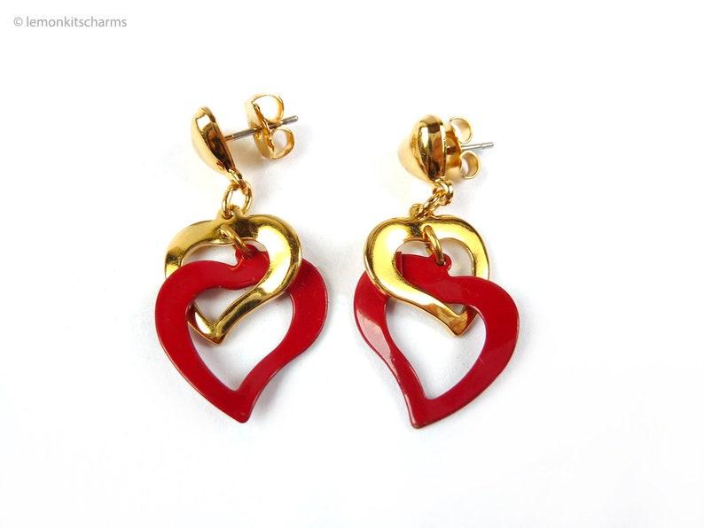 Vintage Avon Red Dangle Heart Earrings 1990s Jewelry Double image 0
