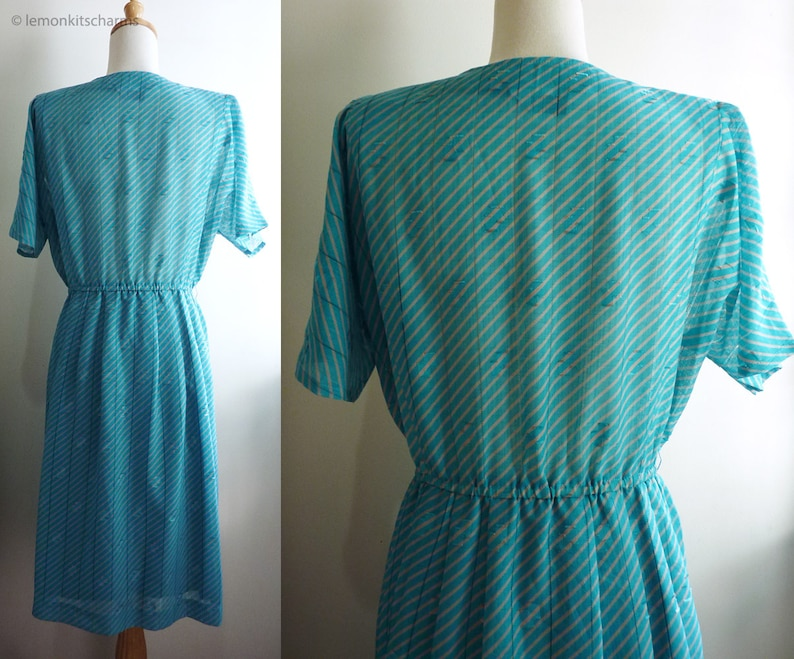 80s Japanese clothing Turquoise Casual Short Sleeved Geometric Summer Vintage 1980s Aqua Green Striped Dress Size S  M