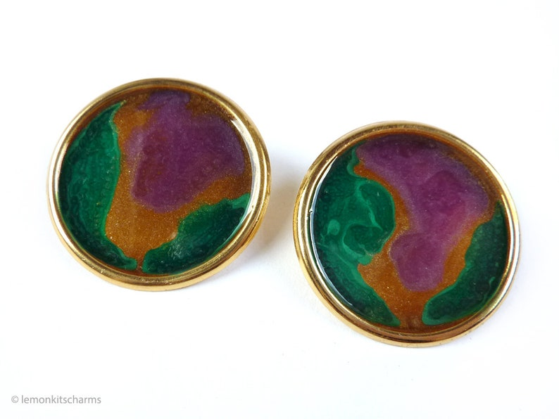 Vintage Green Purple Large Earrings 1980s Jewelry Round image 0
