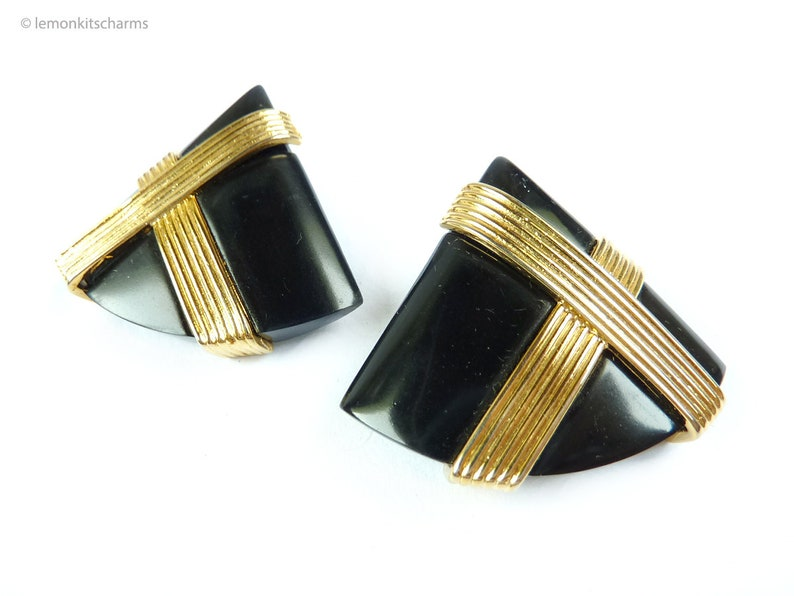 Vintage 1980s Black Gold Triangle Earrings Pierced Post image 0