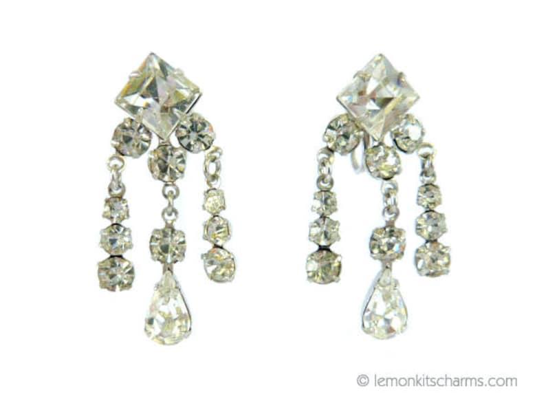eca748efd Vintage Clear Rhinestone Dangle Earrings Jewelry 1950s | Etsy