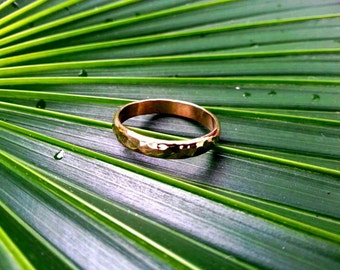 14K Hammered Gold Bands