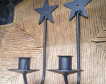 Pair of Wrought Iron Star Candle Holders, Wrought Iron Sconces, Taper Candle Holders, Country Home Decor, Country Craft Supplies