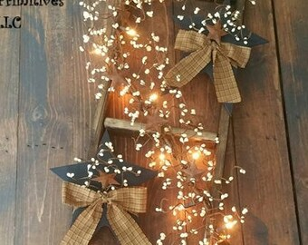 Decorated Country Ladder With Light Up Berry Garland And Primitive Stars, Country  Primitive Home Decor, Customize