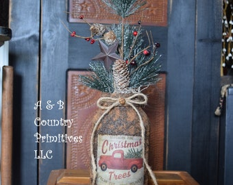 red truck christmas trees mason jar and christmas pine themed arrangement country primitive home decor holiday winter farmhouse decor