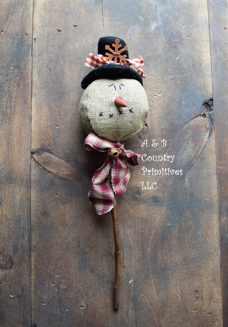 Burlap Snowman Pick 17 Inch Primitive Snowman Country Rustic Home Decor Christmas Holiday Winter Primitive Burlap Snowman