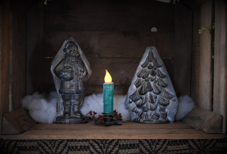 Winter 2 Set of TWO Snowy Vintage Green 4 inch LED Wax Dipped Taper Candles with Timer Battery Operated Candles Country Primitive