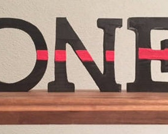 Thin Red Line Painted Letters