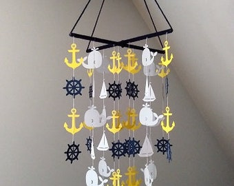 Nautical mobile. Mobile in Navy, white and yellow. Sea mobile. Boy mobile. Baby boy mobile. Baby mobile. Whale mobile. Mobile.