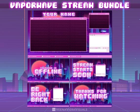 Vaporwave Pre Made Stream Overlay Bundle For Twitch Facebook Etsy
