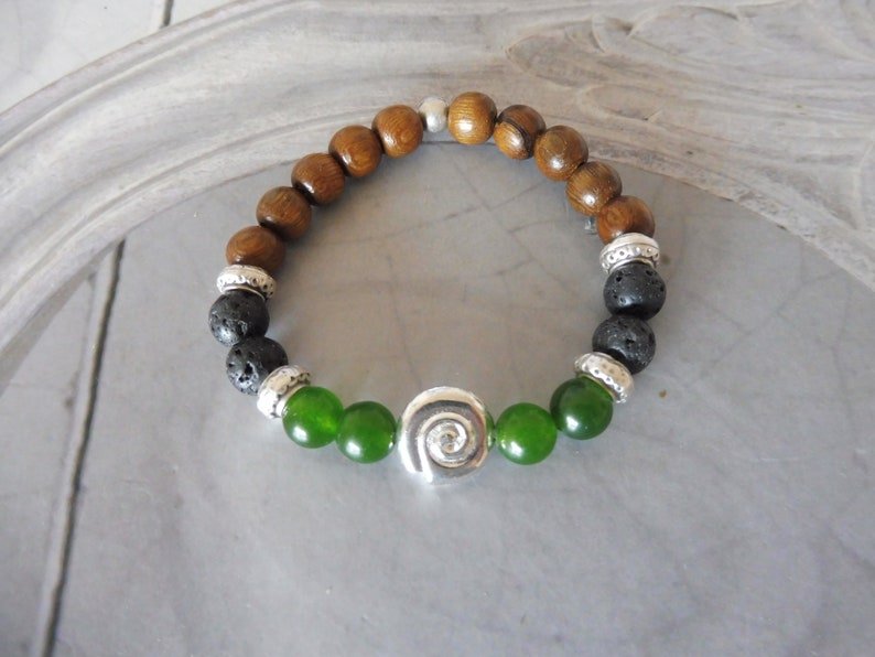 Bracelet spiral snail jade lava silver green boho Handmala