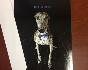 Greyhound Boxed Thank You Notecards 6 folded blank cards