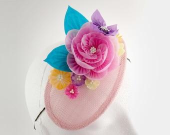 Alice - Pink Peony Teardrop Fascinator, Butterfly, Asters, Daisy, Tsumami Zaiku Kanzashi, Garden Party, Woodland Wedding, Geisha, Japanese