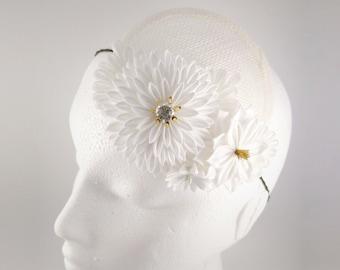 Agnes - White & Ivory Chrysanthemum Bridal Fascinator, Dahlia, Daisy, Tsumami Zaiku Kanzashi, Garden, Boho, Woodland Wedding, Japanese Craft